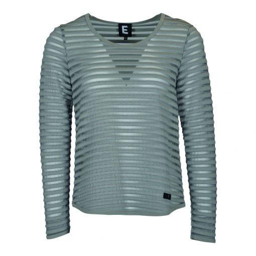 T-shirt med striber i mesh forside grey