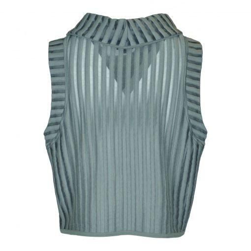 Top med høj rullekrave i stribe mesh bagside grey