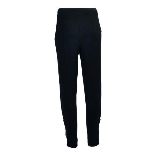 Bukser med lynlås og elastik taljebånd bagside black