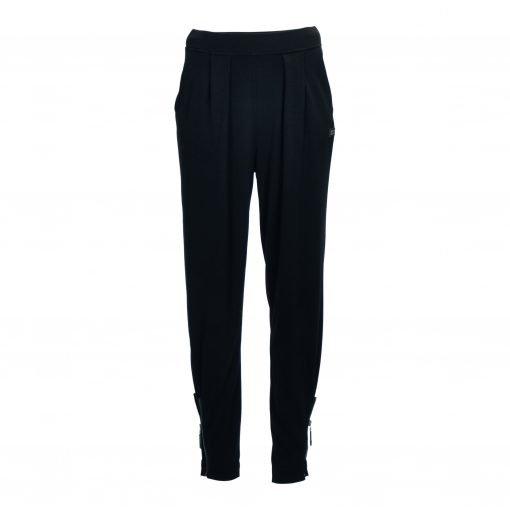 Bukser med lynlås og elastik taljebånd forside black