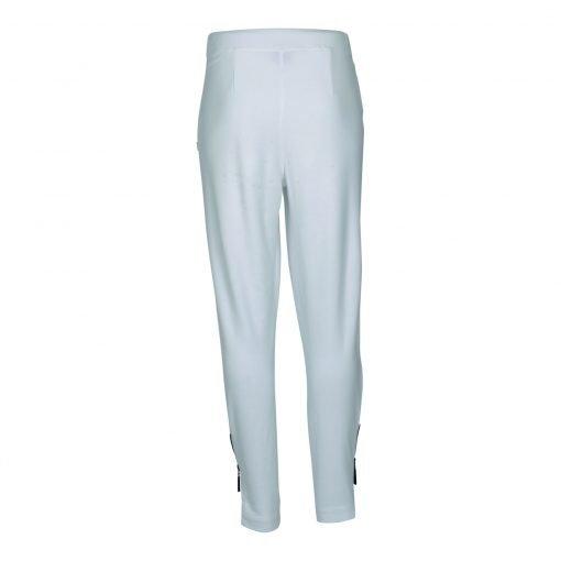 Bukser med lynlås og elastik taljebånd bagside white