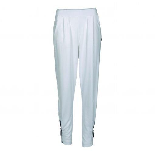 Bukser med lynlås og elastik taljebånd forside white