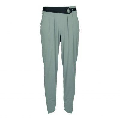 Bukser med bælte og elastik tajlebånd forside grey