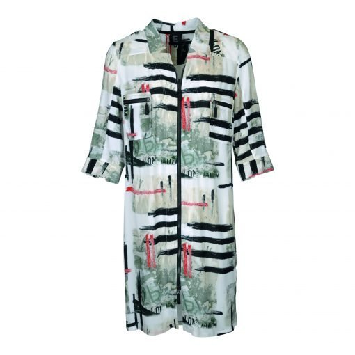 Long shirt in thin lightweight 100% viscose with three-quarter sleevs e-avantgarde