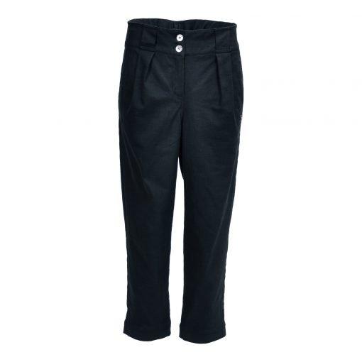 Bukser i strækbar bomuld/linned | E-avantgarde forside black