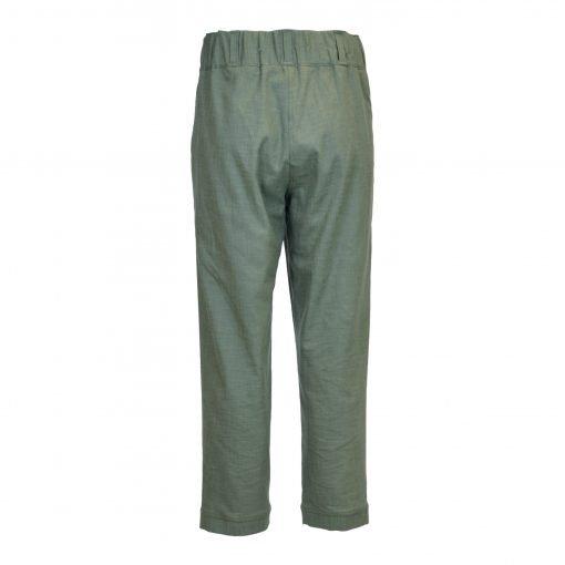 Bukser i strækbar bomuld/linned | E-avantgarde bagside green