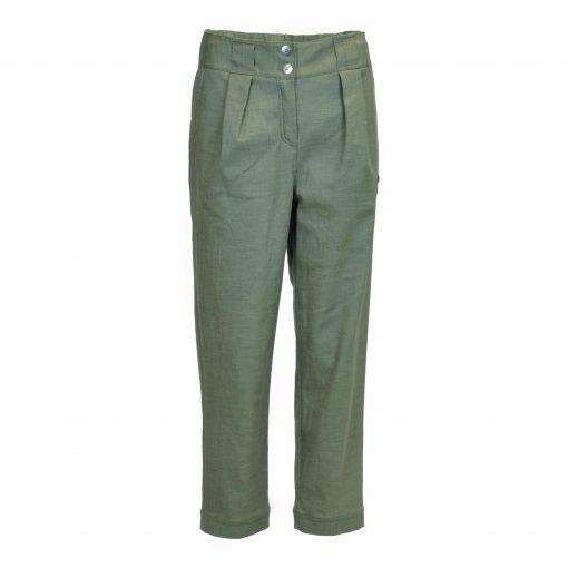 Bukser i strækbar bomuld/linned | E-avantgarde forside green