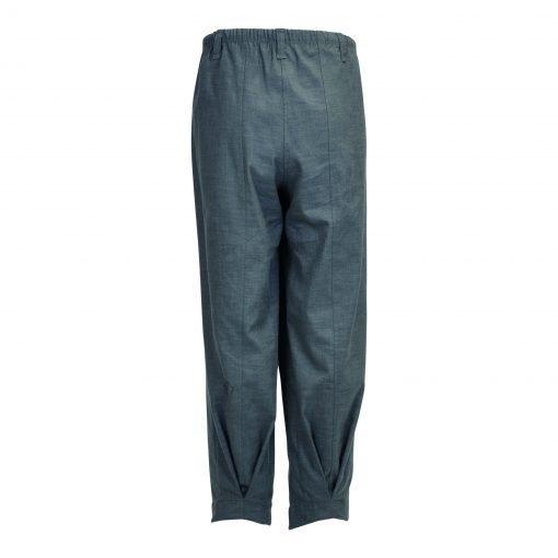 Baggy bukser i strækbar bomuld/linned | E-avantgarde bagside grey