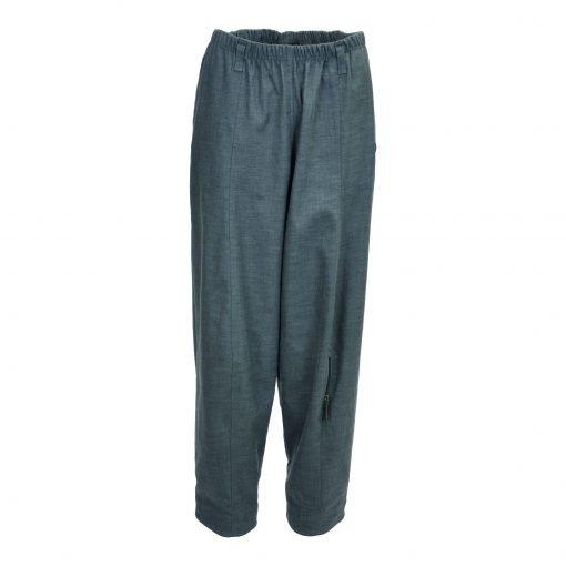 Baggy bukser i strækbar bomuld/linned | E-avantgarde forside grey