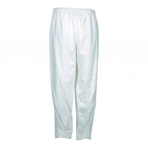 Baggy bukser i strækbar bomuld/linned | E-avantgarde bagside white