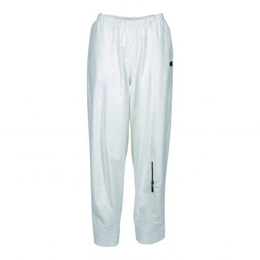 Baggy bukser i strækbar bomuld/linned | E-avantgarde forside white
