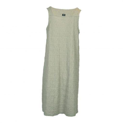 Strop kjole krøllet bomuldsblanding, afrundet hals knæ længde e avantgarde
