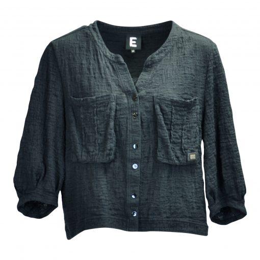 Kort jakke i krøllet bomuldsblanding med trekvart ærme