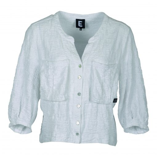 Short jacket in curly cotton blend, with three quarter sleeve e-avantgarde