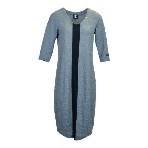 Dress with long sleeves in curly cotton