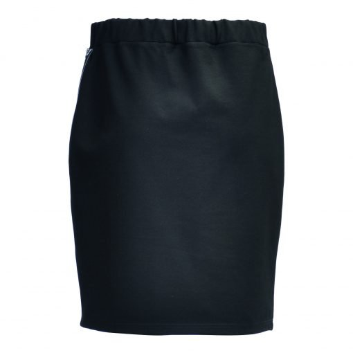 Kneelong skirt in a stretch blend viscose quality and with name band down the side.