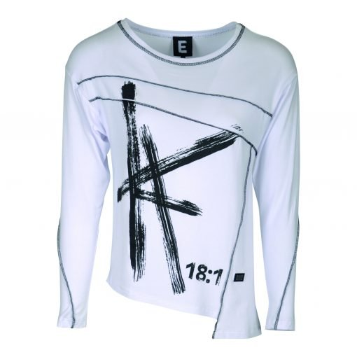 T-shirt with a round neckline, long sleeves print on - e-avantgarde