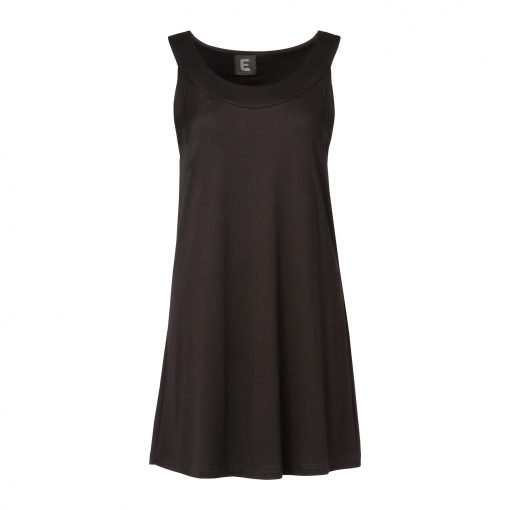 Woman Long Top in Viscose front black
