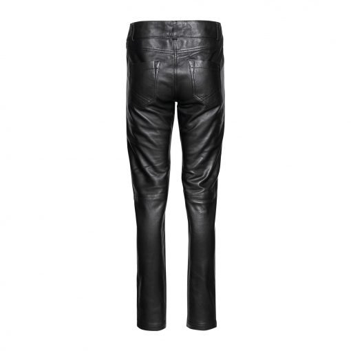 woman leather pants with pleats back