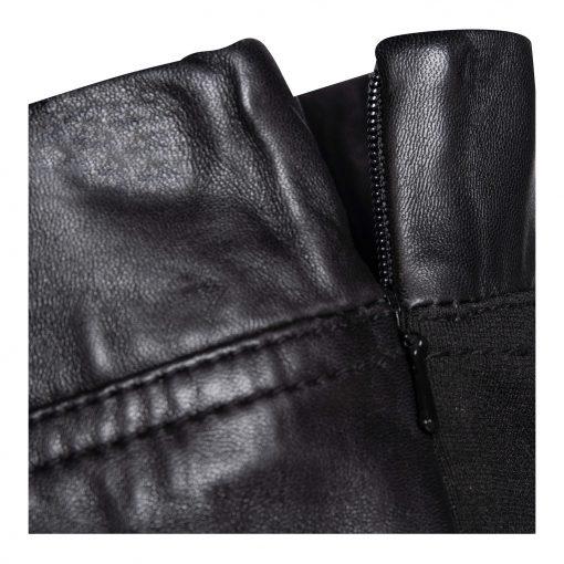 Woman slim leather pants details