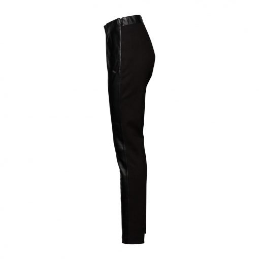 Woman slim leather pants side