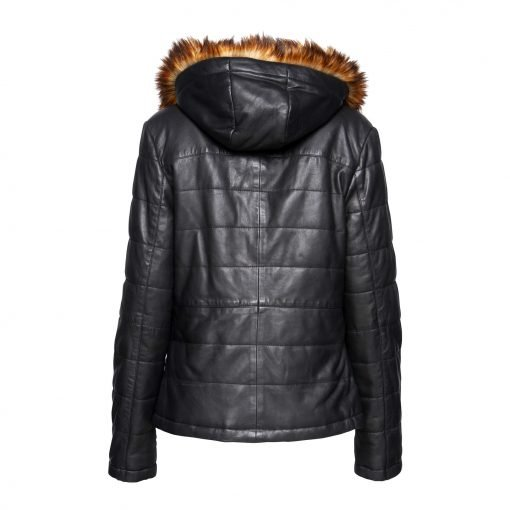 Woman Leather jacket with fake fur back