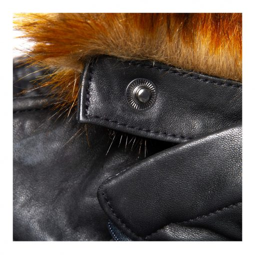 Woman Leather jacket with fake fur details