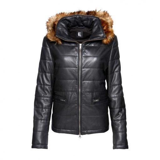 Woman Leather jacket with fake fur front