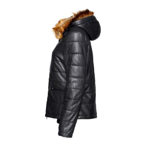 Woman Leather jacket with fake fur side