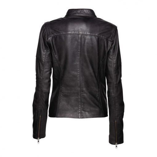 Woman Leather Jacket with Zipper Details back