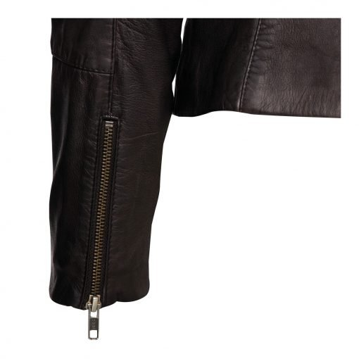 Woman Leather Jacket with Zipper Details details
