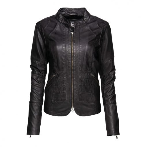 Woman Leather Jacket with Zipper Details front
