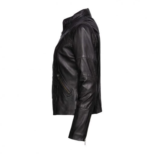 Woman Leather Jacket with Zipper Details side