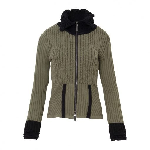 Woman Knitted Cardigan with Crinkle details. front khaki