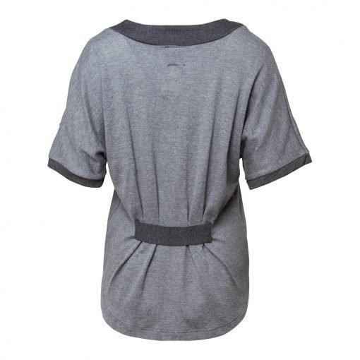 Woman Knit Blouse with Pleats details back grey