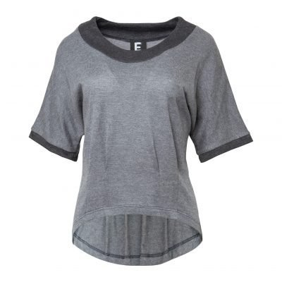 Woman Knit Blouse with Pleats details front grey