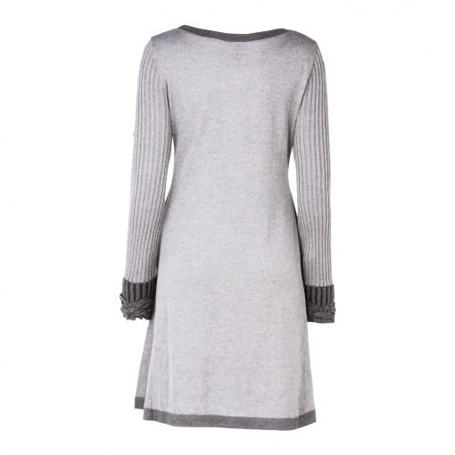 Woman Knitted Long Dress with Crinkle Details back grey