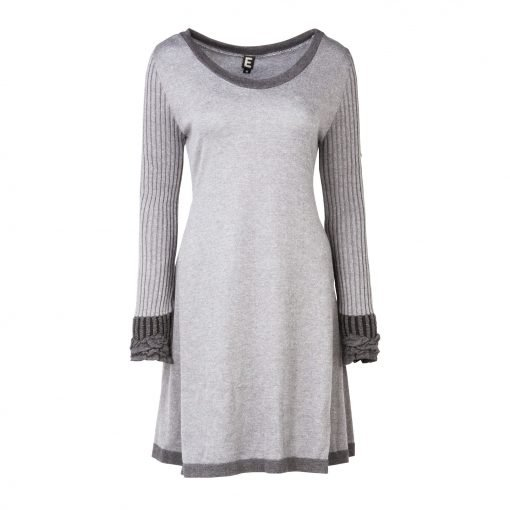 Woman Knitted Long Dress with Crinkle Details front grey