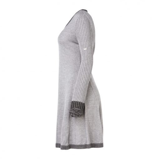 Woman Knitted Long Dress with Crinkle Details side grey