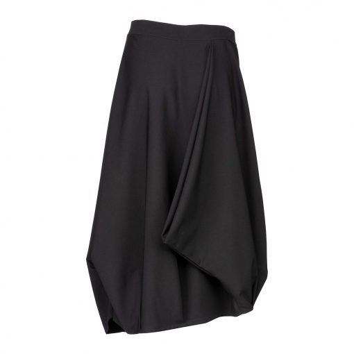 Woman Baggy Skirt with a Fixed Waist back black