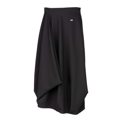 Woman Baggy Skirt with a Fixed Waist front black