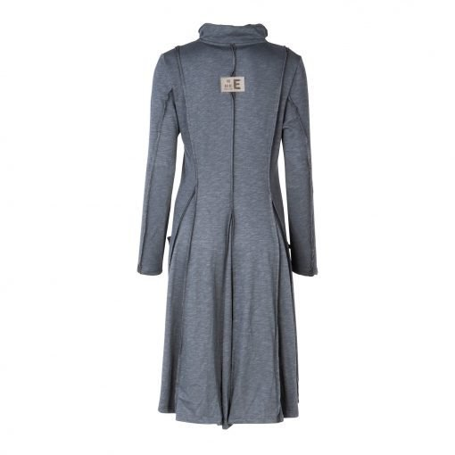 Woman Long Coat Dress With Raw edges back grey