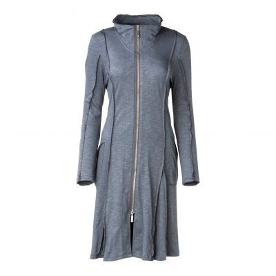 Woman Long Coat Dress With Raw edges front grey