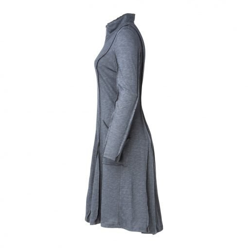 Woman Long Coat Dress With Raw edges side grey