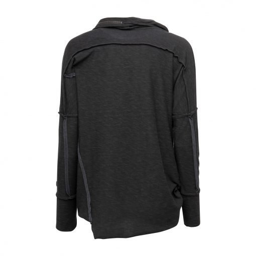 Woman Raw Blouse with Zipper Details back Black