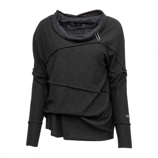Woman Raw Blouse with Zipper Details front black