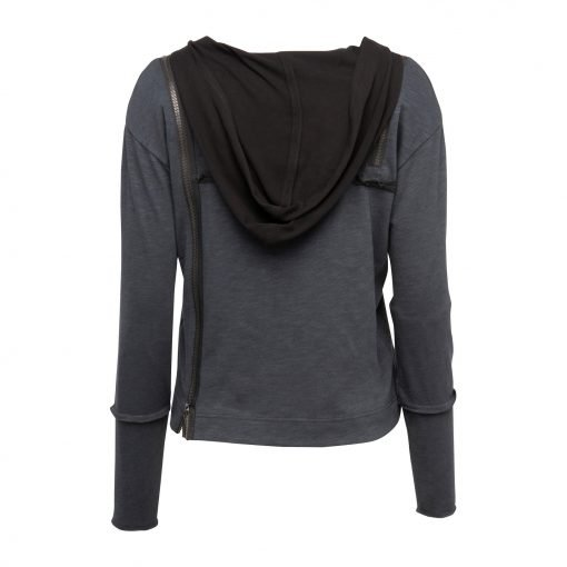 Woman Raw Blouse with a Twist back grey