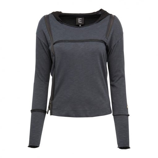 Woman Raw Blouse with a Twist front grey