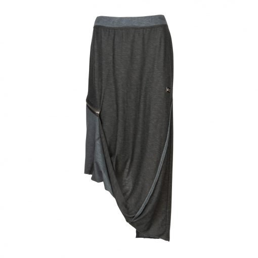 Woman Long Raw Pencil Skirt with a Twist front up black