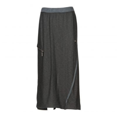 Woman Long Raw Pencil Skirt with a Twist front down black